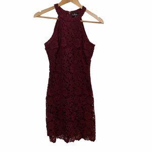 Lulu's Burgundy Lace Halter Dress